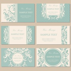 Set floral vintage business cards, invitations, announcements.