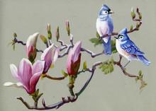 Peinture Oiseaux de collecte de printemps