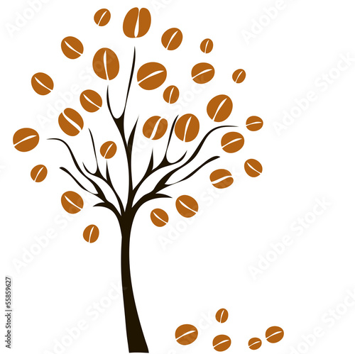 vector coffee tree with coffee beans