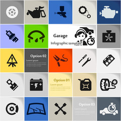 Garage icon set vector abstract background