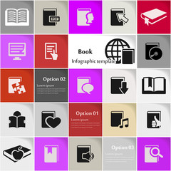 Book icon set vector abstract background