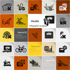 Health icon set vector abstract background