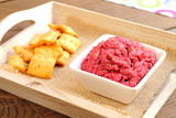Beetroot and chickpea hummus with crackers
