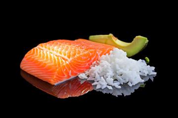 Raw salmon.