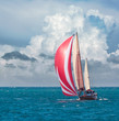 Yacht sailing - nautical landscape with sailboat.