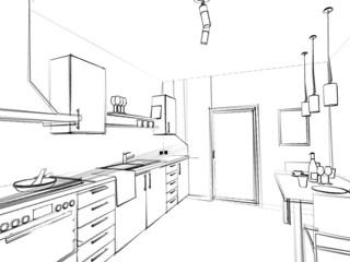 Küche Skizze
