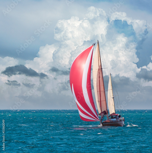 Yacht sailing - nautical landscape with sailboat.