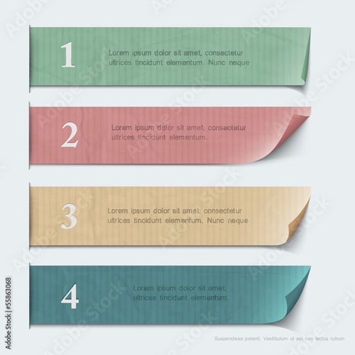 Design for infographics - paper numbered banners