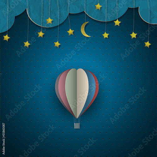Hot air balloon and moon with stars