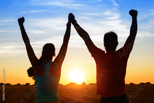 canvas print picture Sport couple of athletes success
