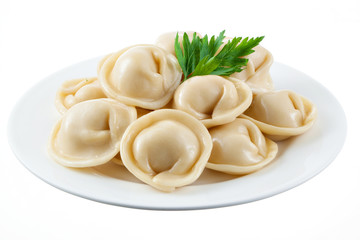 Dumplings and parsley - russian pelmeni - italian ravioli - on w