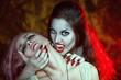 Beautiful vampire and her victim