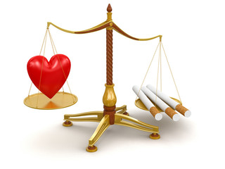 Justice Balance  with Cigarettes and Heart