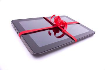 Tablette tactile : cadeau emballée avec du ruban