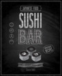 Vintage Sushi Bar Poster - Chalkboard. Vector illustration.