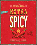 Fototapety Vintage Extra Spicy Poster. Vector illustration.