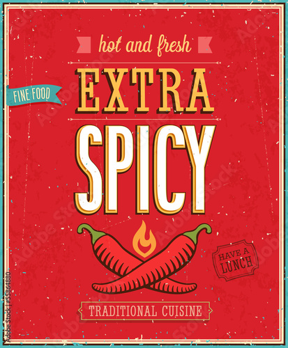 Vintage Extra Spicy Poster. Vector illustration.