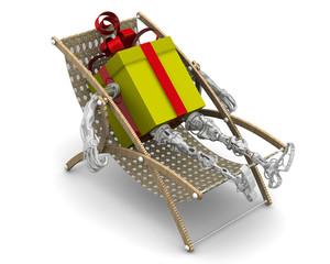 Подарочная коробка в виде робота отдыхает в шезлонге
