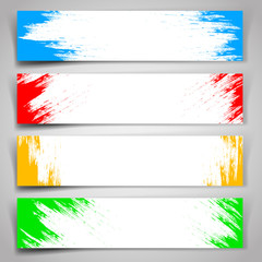 Set of banners of multcolor paint strokes.