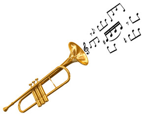 Trumpet with music notes (clipping path included)