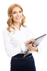 Businesswoman using tablet pc, isolated