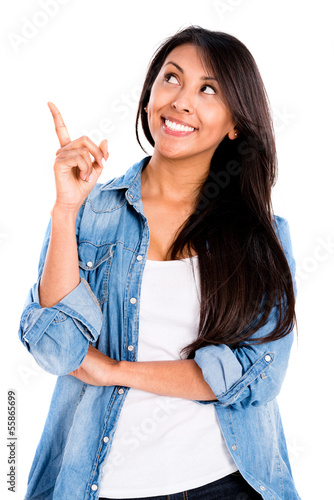 Happy woman pointing an idea