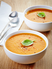two bowls of squash soup
