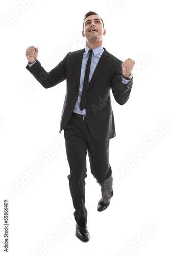 Karriere - erfolgreicher Mann im Anzug freut sich