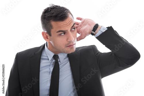 Mann ist neugierig oder schwerhörig