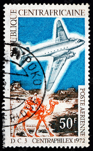 Postage stamp Central African Republic 1972 DC-3 and Mailman