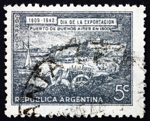 Postage stamp Argentina 1943 Port of Buenos Aires in 1800