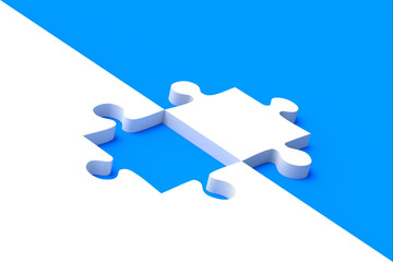 Jigsaw puzzle on blue background
