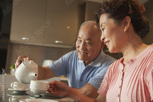 Senior couple sharing tea