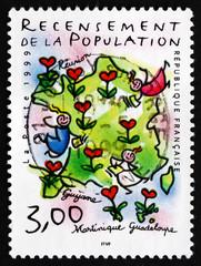 Postage stamp France 1999 Map of France