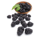Fresh blackberry with leaf in basket
