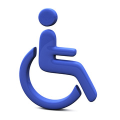 Blue handicap icon, 3d