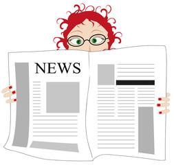 illustrazione di donna che legge le il giornale