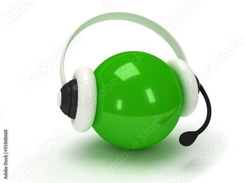 Green orb with headset isolated over white