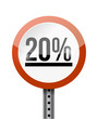 20 percentage road sign illustration design