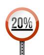 20 percentage road sign illustration design