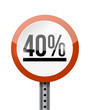40 percentage road sign illustration design