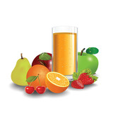 Fresh fruit and juice. Vector illustration