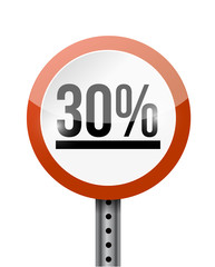 30 percentage road sign illustration design