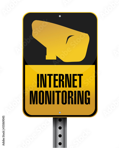 internet monitoring road sign illustration