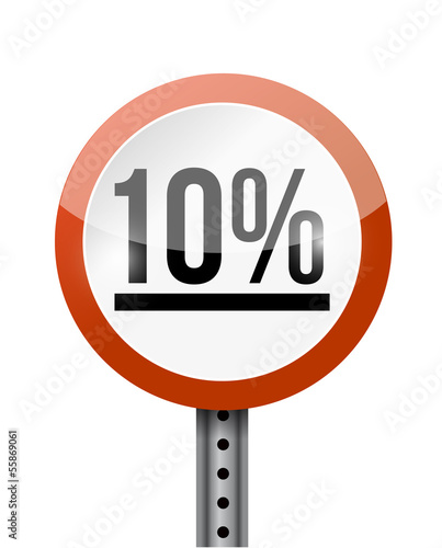 10 percentage road sign illustration design