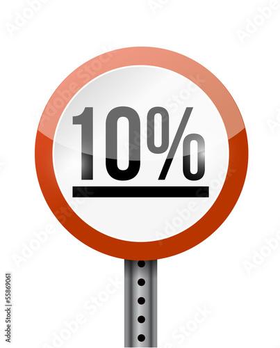 10 percentage road sign illustration design