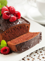 Chocolate loaf cake with chocolate frosting