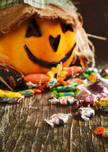Colorful Halloween candy and Jack-o-lantern
