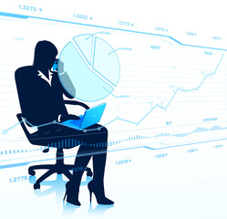 Businesswoman looks at transparent charts