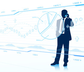 Businessman looks at transparent charts